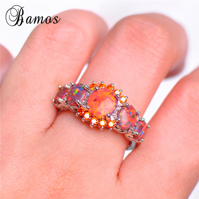 Bamos Brand Fashion Round Orange Fire Opal Ring 100% Real 925 Sterling Silver Jewelry For Lady Christmas Gifts Luxury Rings 5