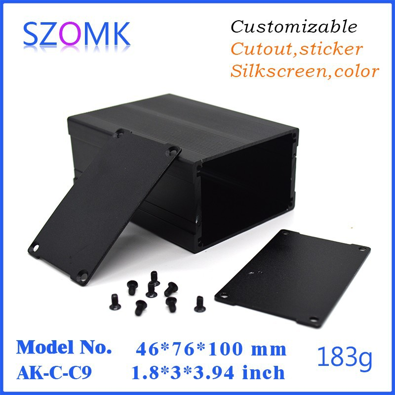 1 piece free shipping Black color Black color diy aluminium box housing or aluminum enclosure for pcb 1 piece black diy electrical aluminum enclosure small switch box with anodizing 24x80x90mm