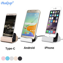 Peaktop Universal Android Sync Data Pengisian Desktop Dock Station Charger Mirco USB Tipe-C untuk iPhone X 8 7 6S PLUS 5S Samsung S(China)