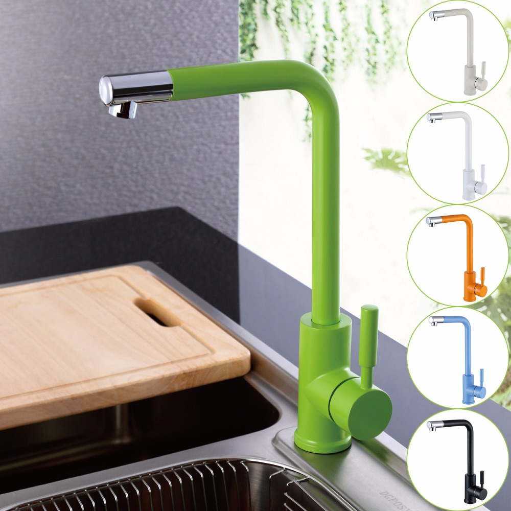 Kitchen Sink Faucet with Black White Green Orange and Blue Hot and Cold Brass Kitchen Basin