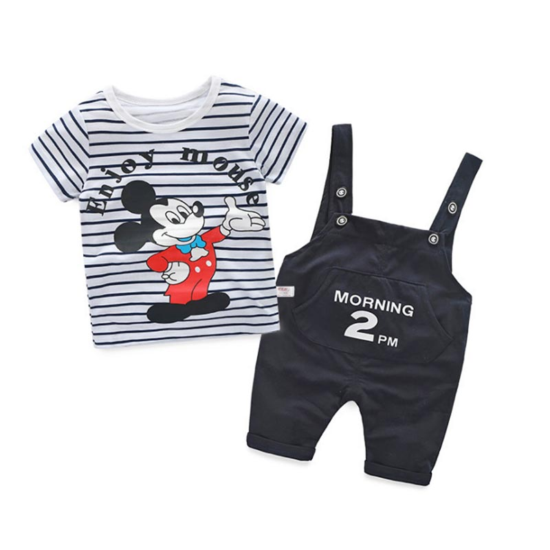 Summer style baby girls clothes set mickey rompers suit 2017 baby boys girls child casual sport t-shirt+Jumpsuits clothing set