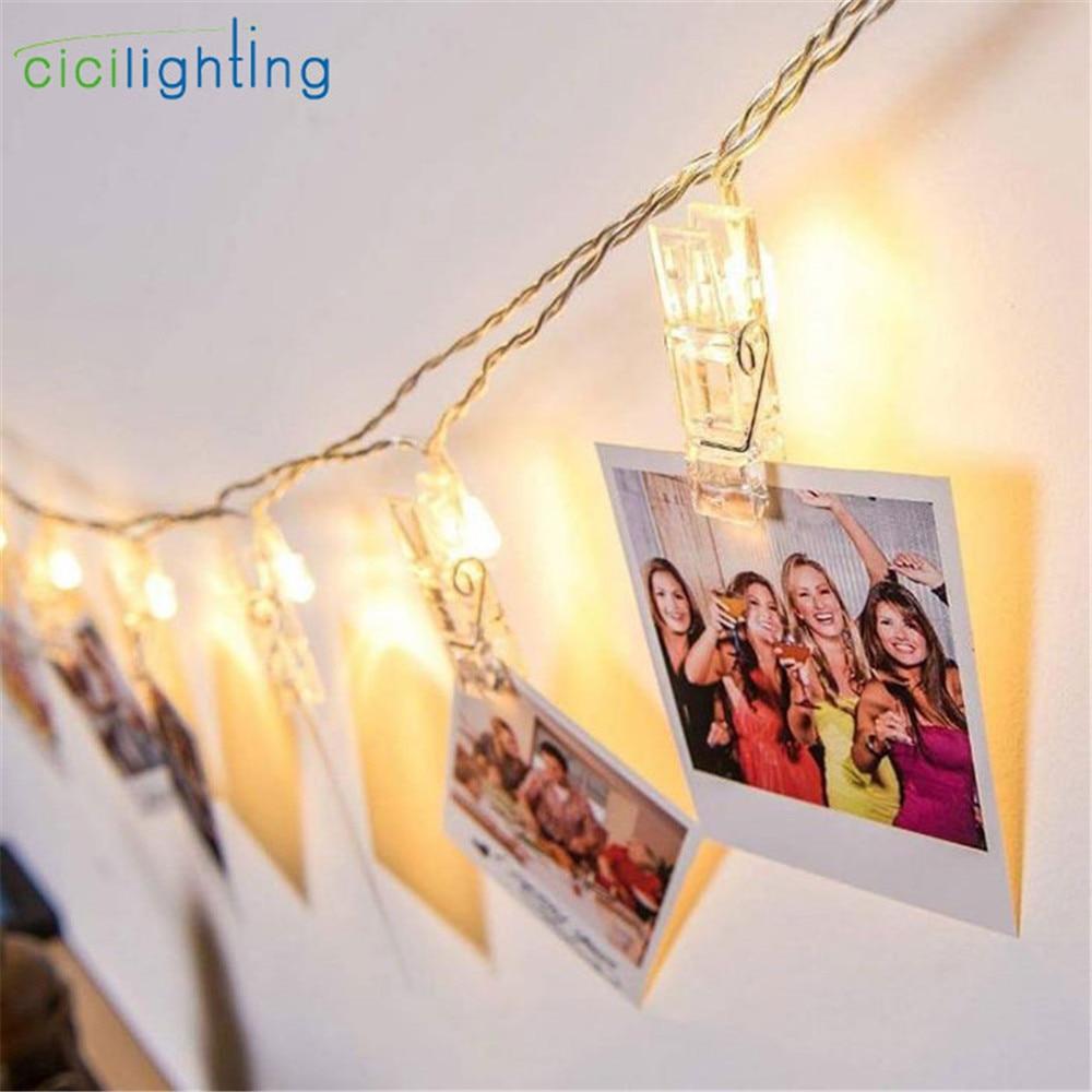 1m 2m 3m 4m 6m klips do zdjęć lampa girlanda żarówkowa led lub USB DC 5V świąteczne dekoracje na wesele i przyjęcie lampki