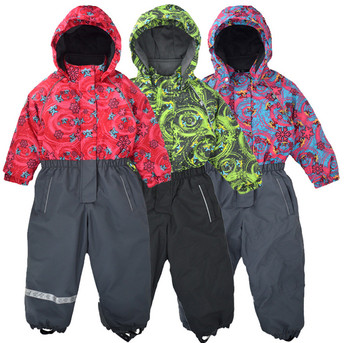 Jumpsuit outdoor windproof and snowproof jumpsuit winter warm jumpsuit children thick warm ski suit фото