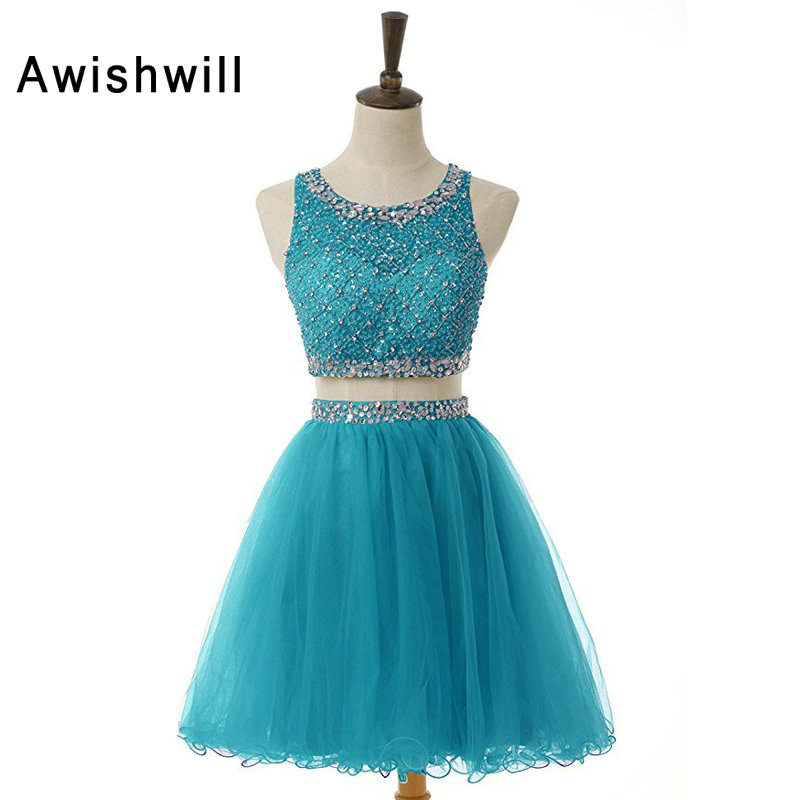 New Arrival 2019 Short Party Dress Sequin and Beads Tulle Two Piece Cocktail Dress Real Photos Vestido De Festa Curto