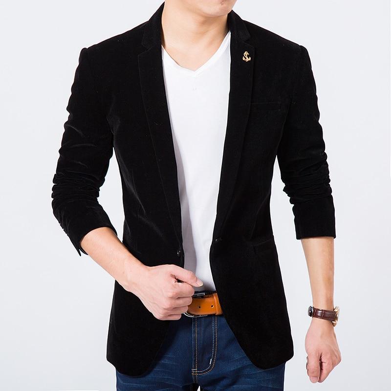 2018 Autumn winter Mens slim fit velvet blazer Solid Color single button suit jacket Male Masculino Blazer coat outwear 040303