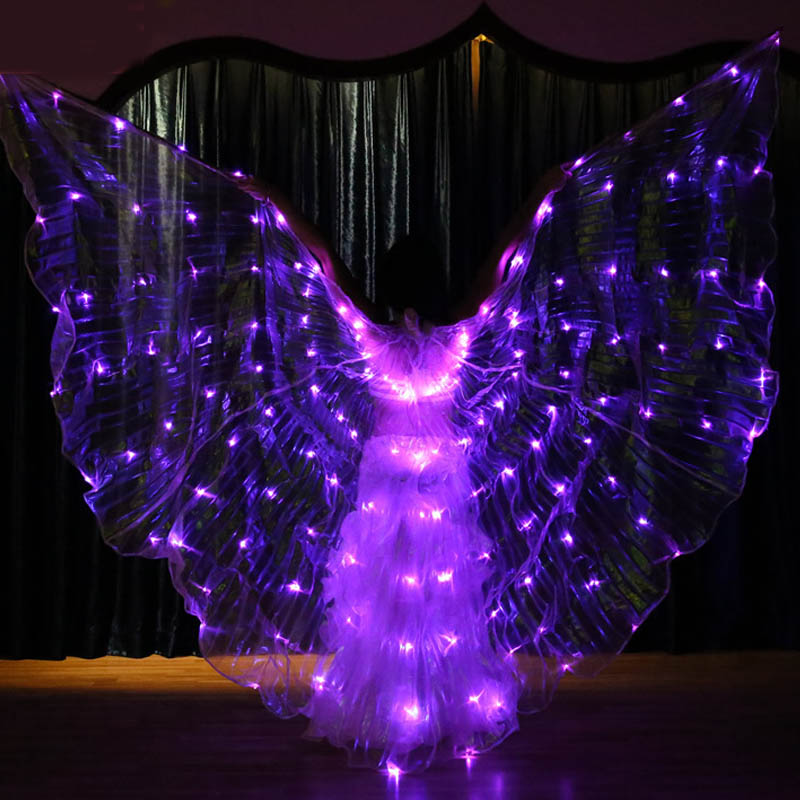New Flashing 6 Colors Varied Belly Dance LED Wings Butterfly Dancer Costume Women Glowing Oriental Indian Bellydance Accessory