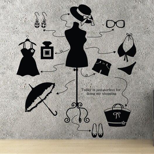 Леди магазин одежды виниловая наклейка Красота магазин платье бикини Hat сумка Обувь настенной Стикеры магазин окно glassroom украшения дома