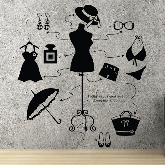 Lady clothes shop vinyl decal beauty shop dress bikini hat bag shoes mural wall sticker store window glassroom home decoration in wall stickers from home