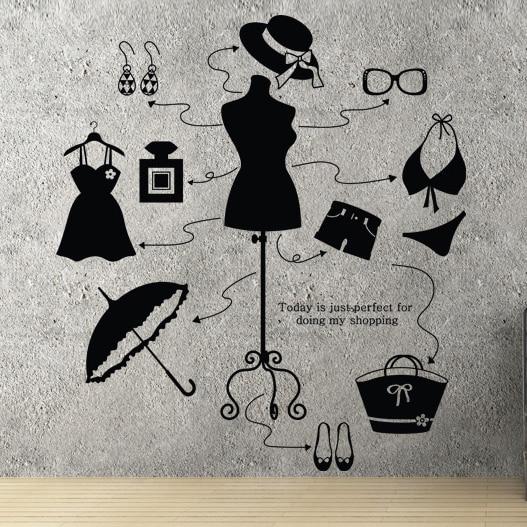 Aliexpresscom Buy Lady Clothes Shop Vinyl Decal Beauty Shop