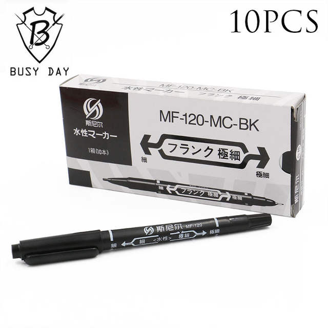 Sale Real 10pcs Professional Tattoo Transfer Pen Black Dual Skin Marker  Tattoo Accessories For Permanent Makeup Free Shipping