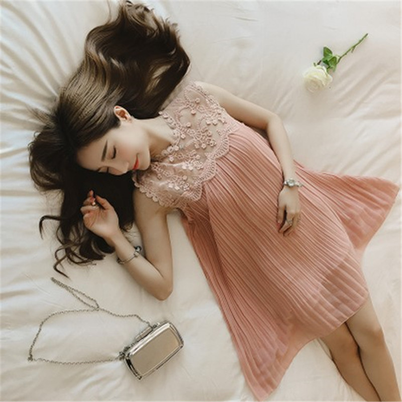 Pregnancy Dress Photography Summer 2018 Women Fashion Pleated Clothes Chiffon Slimming Bulky Dress for Pregnant Women Sleeveless summer alluring spaghetti straps sleeveless spliced solid color dress for women