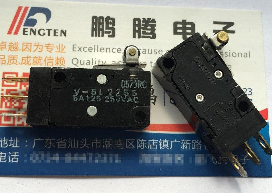 Оригинальный новый 100% Япония Импорт V 5L2255 водонепроницаемый dust ход лимит микро переключатель с ручкой качалкой ролик 5A250V