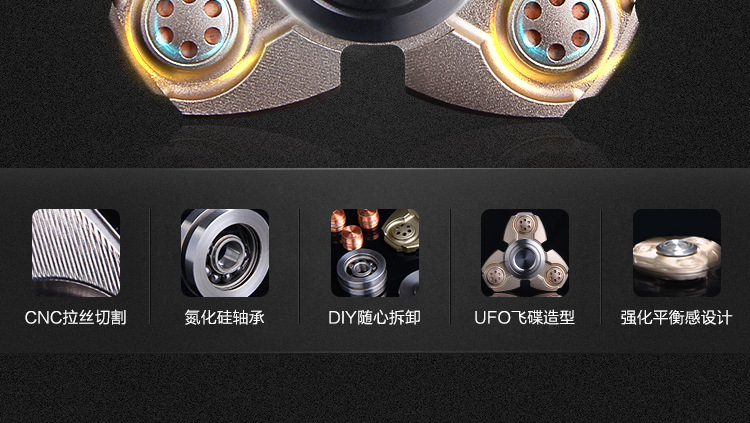 Creative  Tri-Spinner Fidget Toy EDC Hand Spinner for Autism and ADHD Stress Relieve Toy child gift