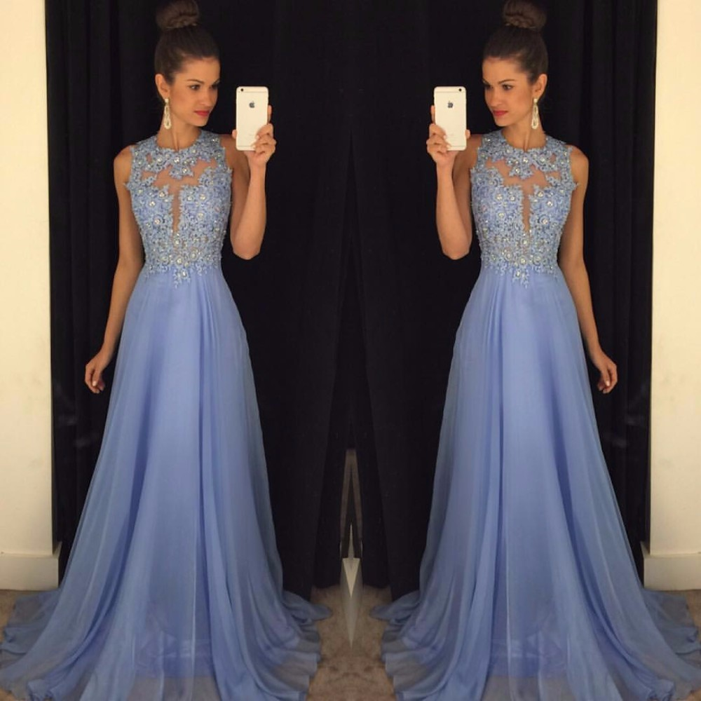 Sexy O Neck A Line Chiffon Lace Appliques Beaded Light Blue Long   Prom     Dresses   2017 Court Train   Prom   Gowns