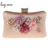 Luxy Moon women Pearl beaded clutch Bag Female evening bags with chains Diamond Flower handbag wedding bag party purse ZD801