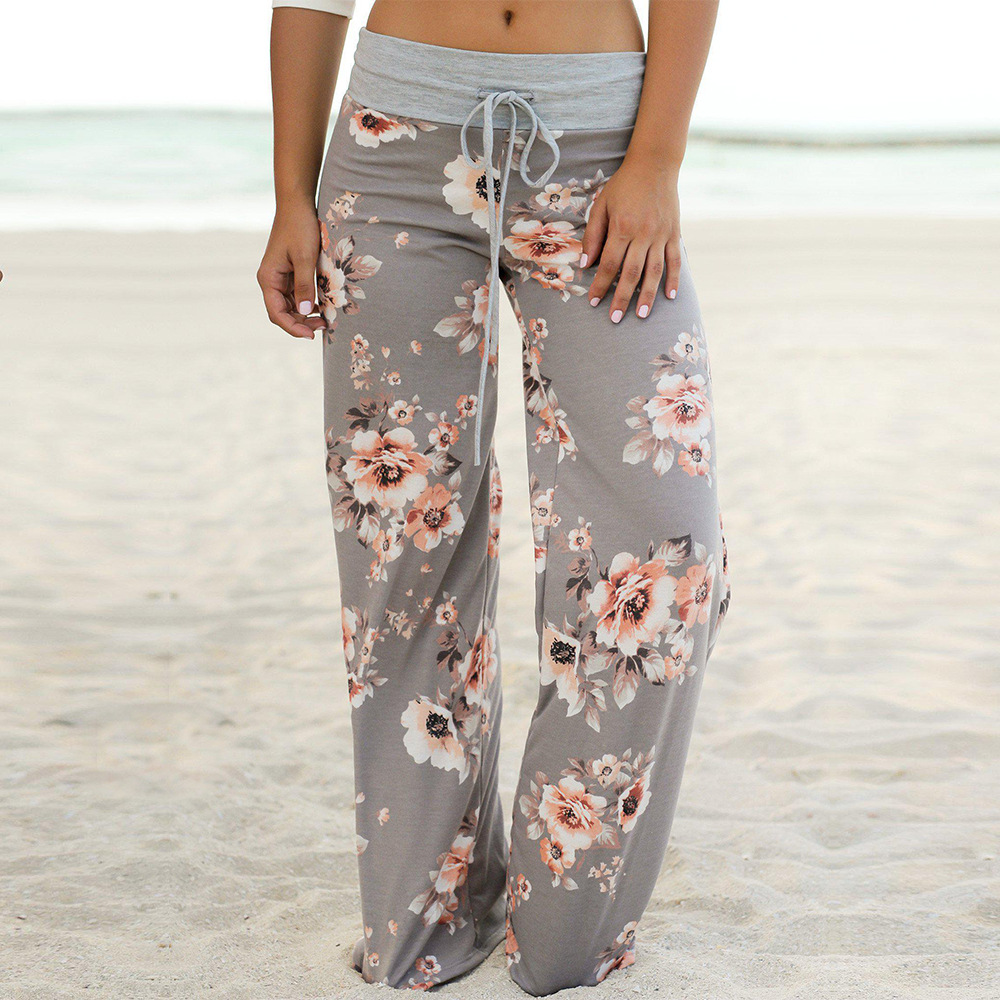 Pants High-Waist Women Floral-Print Vintage-Style Sport Wide Casual for Fitness