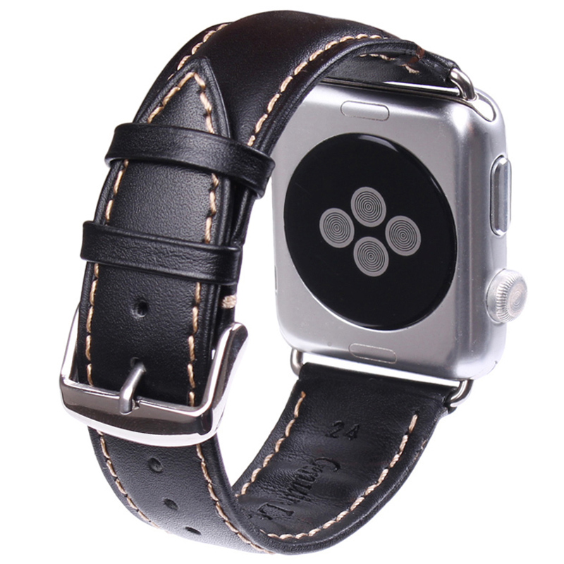 Black Dark Brown Watchbands For Iwatch Apple Watch Strap Genuine Leather Bracelet Watch Accessories 38mm 42mm eache 38mm 42mm dark brown replacement watch straps fit for apple watch vegetable tanned leather watch band for women or man