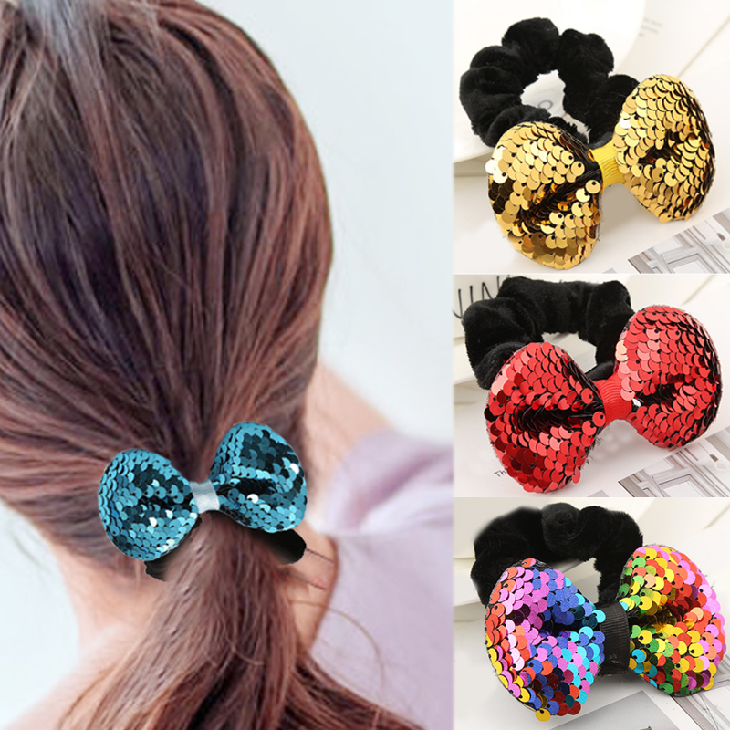 New 2018 Velvet Elastic Rubber Band Bow Tie Hair Rope For Woman Girls Red Black Flannel Pink Paillette 1PC   Headwear   Accessories