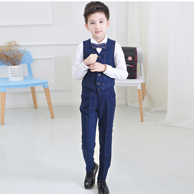 Boys clothing sets vest sets children wedding wear grid for Boys dress clothes wedding