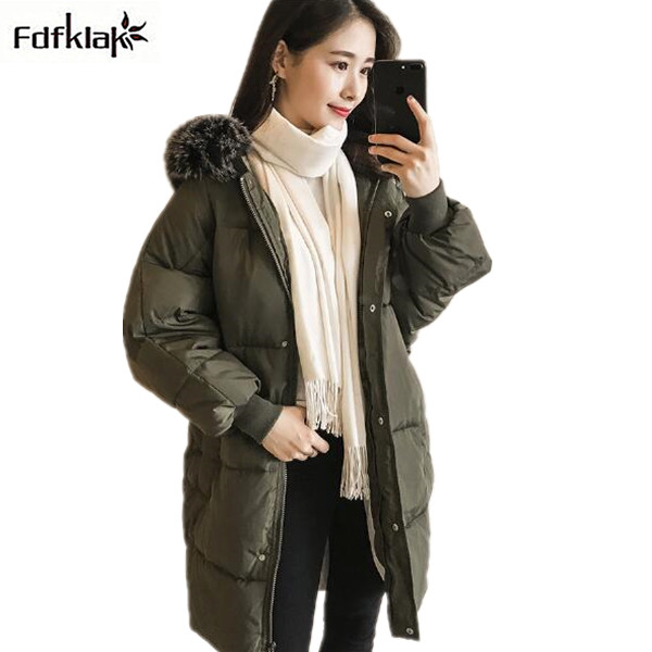 Fdfklak Winter Coat Women Large Fur Collar Hooded Long Jacket Thicken Warm Cotton Padded Parkas 2017 Big Size Military Parka long parka women winter jacket plus size 2017 new down cotton padded coat fur collar hooded solid thicken warm overcoat qw701