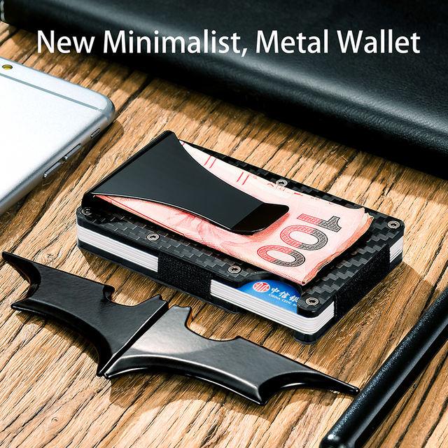 100% billetera delgada de fibra de carbono Real con RFID Anti-ladrón