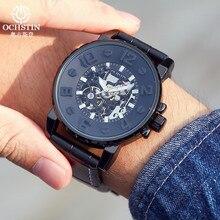 למעלה מותג ochstin מכאני שעונים erkek kol saati שחור עור רצועת שעון אוטומטי עצמית רוח פלדת שלד ספורט שעונים
