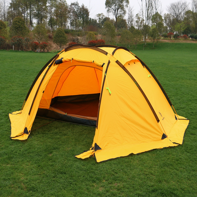 Hillman 4 Person Camping Tent With Snow Skirt Double Layer Aluminum Rod Large Tent One Living Room One Bedroom Family Waterproof in one person