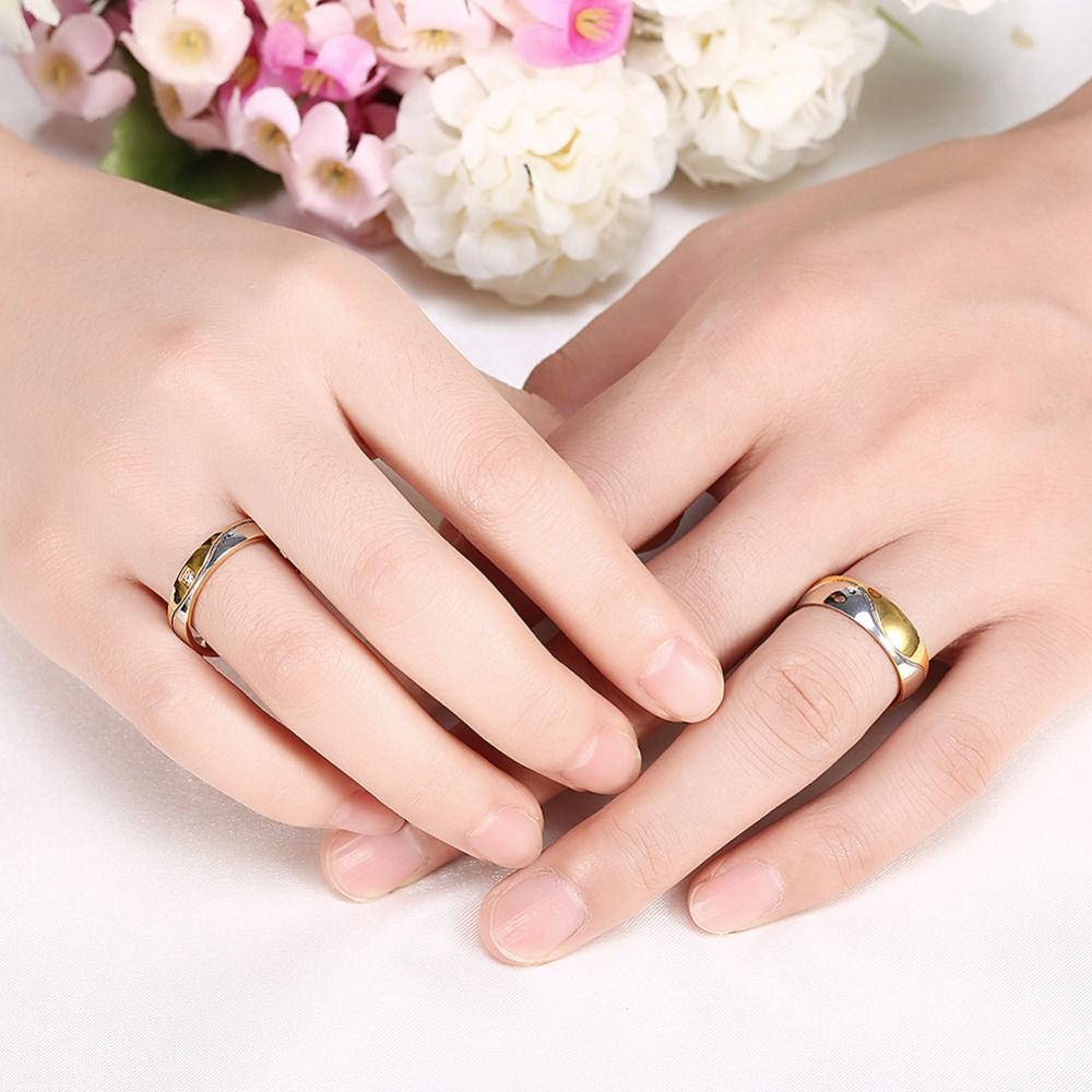 Fashion Wedding Alliance Ring Gold Color Pair Rings Set For Men ...