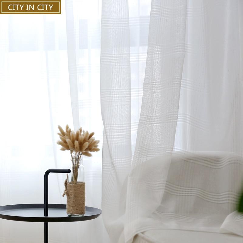 VILLE EN VILLE Plaid Burnout Rideaux Pour Salon Blanc Et Gris Voile Moderne  Style Home Decor Sheer Rideau Pour Chambre Fenêtre