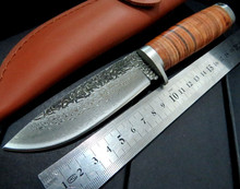 High Quality carbon steel imitate Damascus Knife D Handmade Straight Knife Forged Steel Sharp Hunting Knife Fixed Tactical Knife