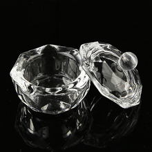 Women Crystal Cup Lid Glass Nail Art Cup Liquid Makeup Powde