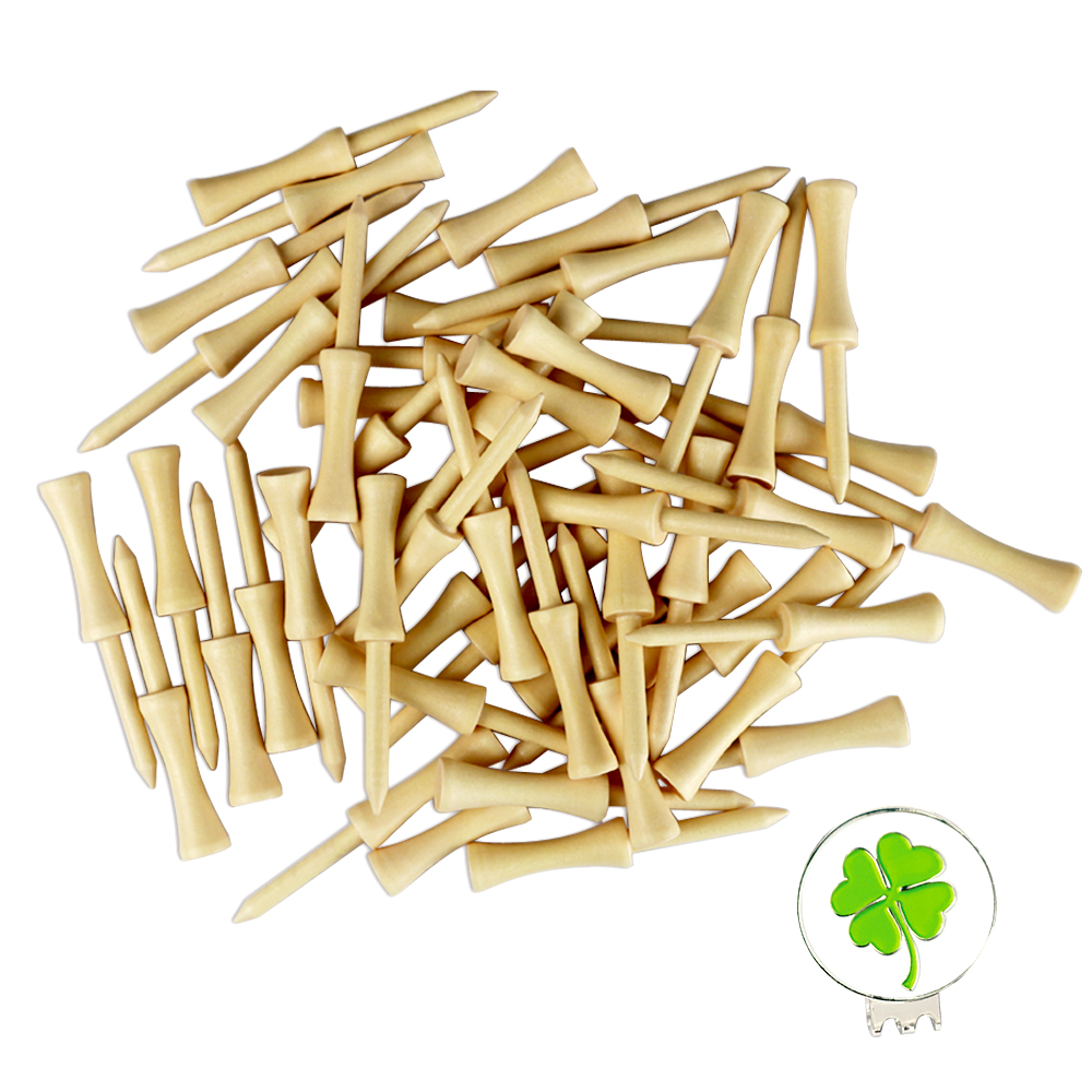 Golf Tees Wooden Step Down Tee With 1 Set Golf Hat Clip Marker For Free( 100pcs Wood Tee)