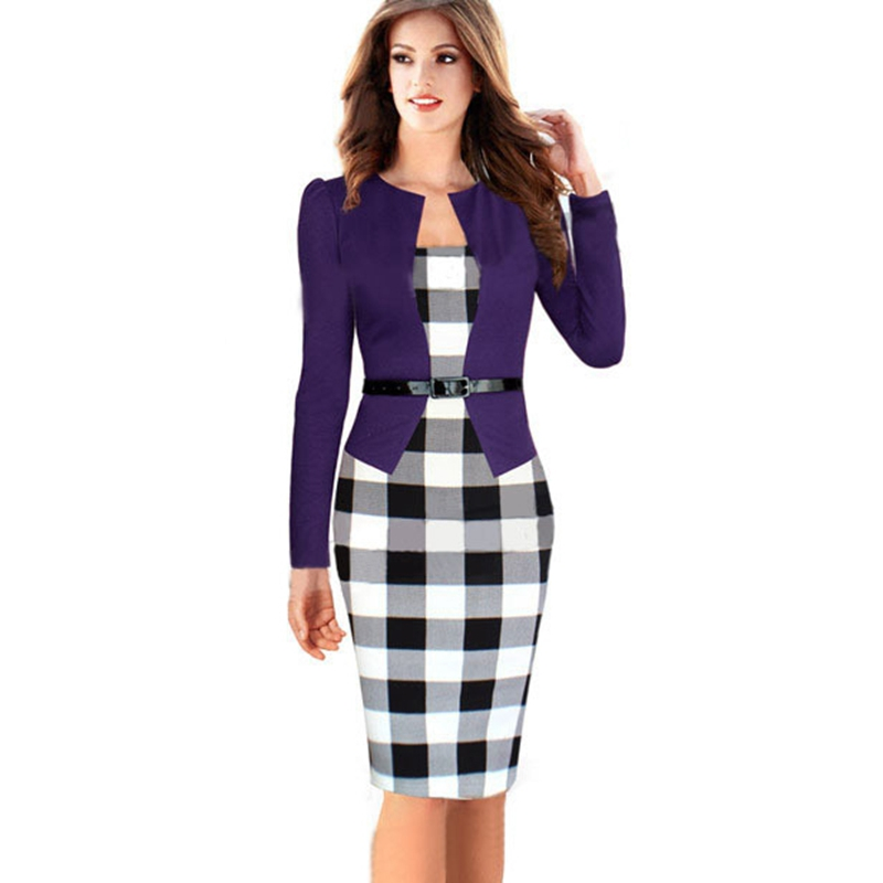 BRASEI 2016 Fashion Black Women Work Wear Classic Plaid Patchwork Formal  Office Business Bodycon Pencil Dress Vestidos Mujer-in Dresses from Women s  ... 4371a5632f1c