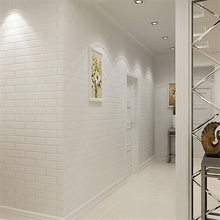 Beibehang 3d凹部に地中海純粋な白レンガ壁紙服ショップ理髪店模造白いレンガの壁紙