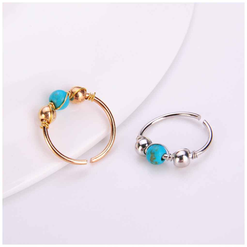 Retro Beads Fake Hoop Stone Nose Ring Punk Nose Clip Nostril Hoop Nose Hoop Ring Body Piercing Jewelry For Party