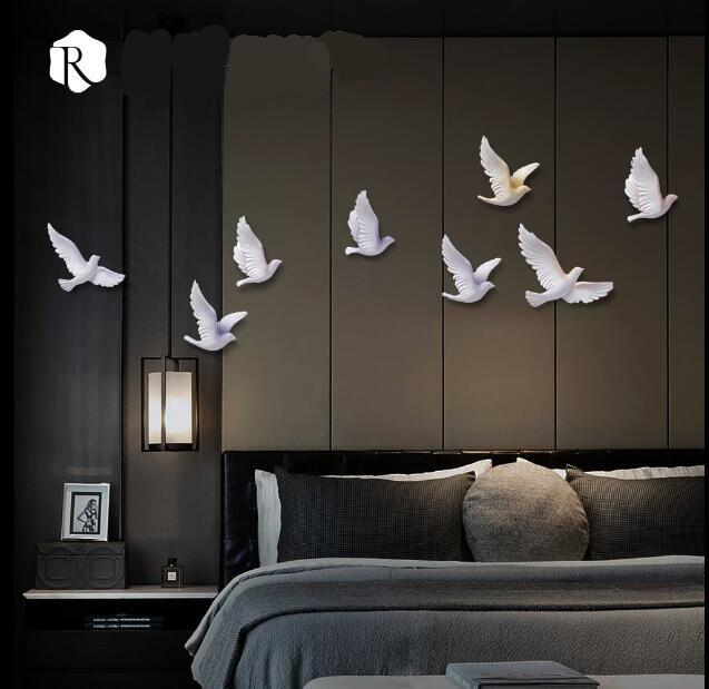 EEN set van 8 stks 3D Hars Vogel Woondecoratie Driedimensionale Muur Decor Muurstickers Creatieve Woonkamer Decoratie Ambachten - 2