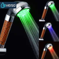 MEOTIYS LED Bathroom Shower Head Chrome Water Temperature Hand Held Shower Head Round Shape Sprayer Save