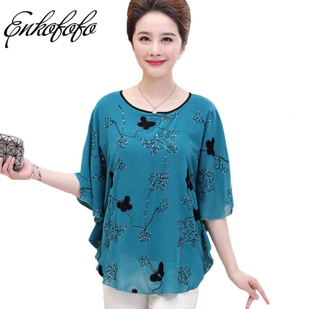 Women Blouse 2017 New Summer Chiffon Silk Beading Floral