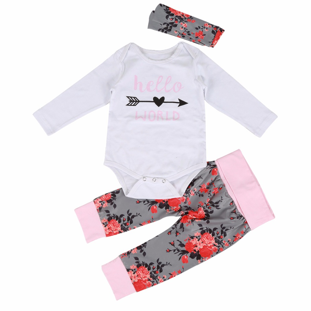44212e7863bb Newborn Baby Girls Romper Clothes Sets Long Sleeve Hello World ...