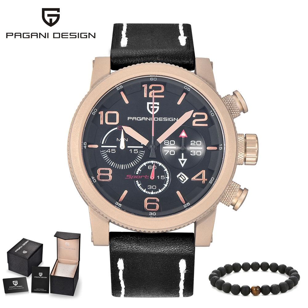 купить PAGANI Male Clock Fashion Mens Watches Top Brand Luxury Function Quartz Watch Leather Waterproof Wristwatches Relogio Masculino по цене 4574.03 рублей
