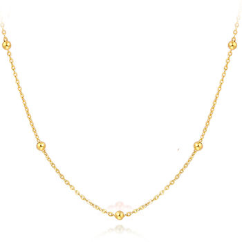 Solid 18k Yellow Gold Necklace Lucky Smooth Bead With O Chain Necklace 16.5inch 3