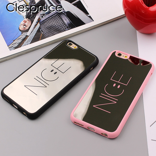 premium selection f6376 4e263 US $1.99 |Fashion Cartoon Nice Mirror Case For iphone 7 7plus 6 6S Phone  Cases Funny Smile Face Back Cover For iphone X 8 8plus soft Capa-in Fitted  ...