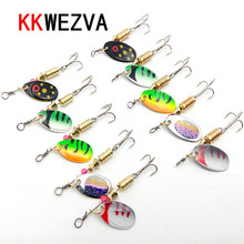 KKWEZVA 10 Pcs/Two sizes Fishing Lure Hook Spinner Spoon Lures With Mustad Treble Hooks Peche Jig Anzuelos De Pesca
