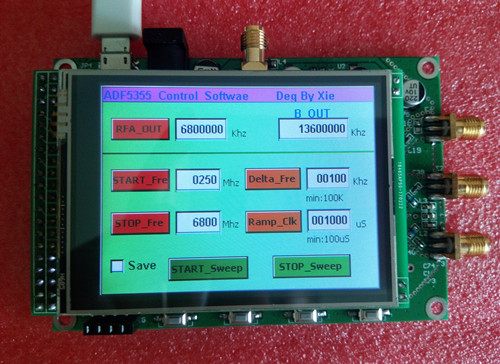 ADF5355 color touch screen module sweep frequency signal source VCO microwave frequency synthesizer PLL