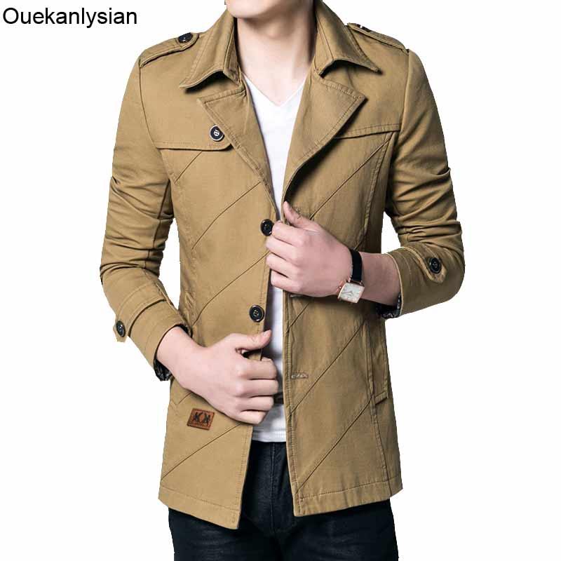 Ouekanlysian Slim Fitted Trench Coat Men Comfortable Mid-long Windbreaker Jacket Breasted Casual Casacos Blusa De Frio Overcoat
