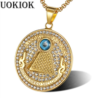 Hip Hop Round Coin Eye of Providence Pendants Necklaces Gold Color Stainless Steel Golden Necklace For Women/Men Jewelry