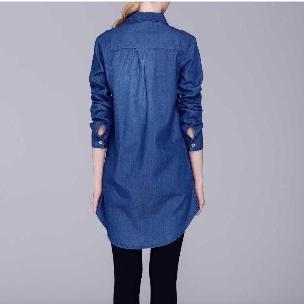 D'été Blouses Long Denim retour Lady Sexy Pas Blue Blue Bleu Longue Casual Chemises Chemise Belle Court Femmes Lâche Nouveau Longues Dark Avant Vêtements Cher light fydqTwOR7