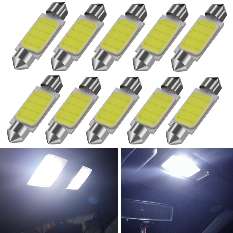 10pcs 31mm 36mm 39mm 41mm COB LED Bulb C5W C10W Car Dome Light Auto Interior Map Roof Reading Lamp DC12V White Color Car Styling