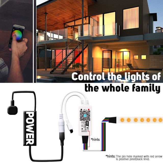 DC5-28V Mini LED WiFi Light 5050 RGB RGBW Strip Bluetooth LED Controller Amazon Alexa Google Phone Voice IOS/Android APP Control 3