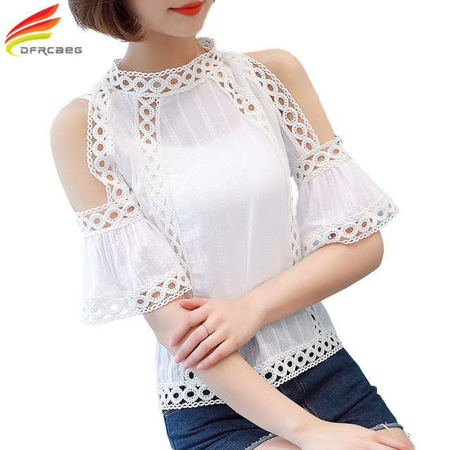 b4a8dcd7c Blusas Feminina Women Blouses 2018 Summer Tops Fashion Crochet Shirt Women  White Lace Blouse Hollow Out